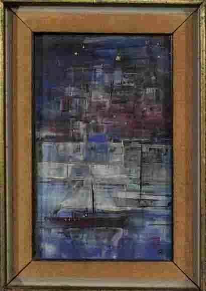 "Signed ""GB"" Mid-Century Modern Still Life Boat Abstract"