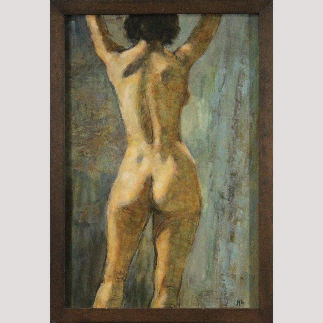 Ina, Oil/b Back Side of Female Nude Painting