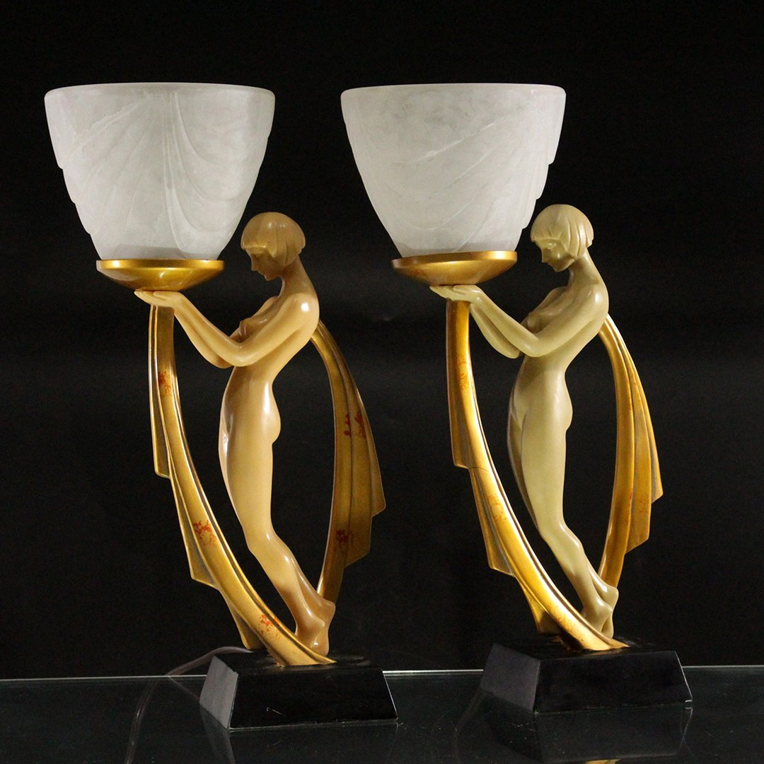Matching Art Deco Nude Standing Girl Lamps Glass Shades