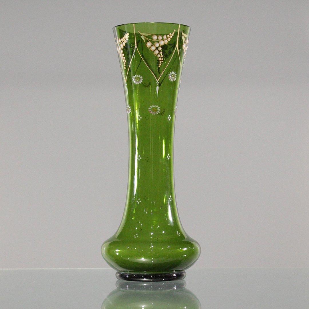 Vintage Green Verde Venetian Hand Painted Vase
