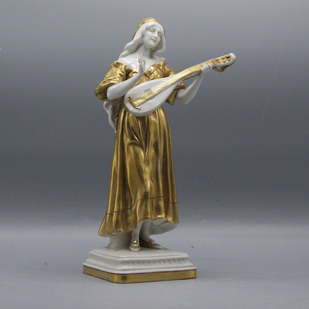 Dresden Style Mark Porcelain Figurine with Guitar