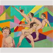 Nicholas Luttinger, Large Oil Gay Art Five For Geometry