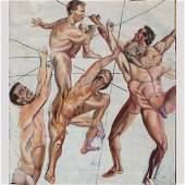 "Gay Art, Very large Oil/c, Gay Men in Motion ""Strivers"""