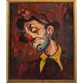 Mid-Century Modern Sad Clown Oil on Canvas Painting