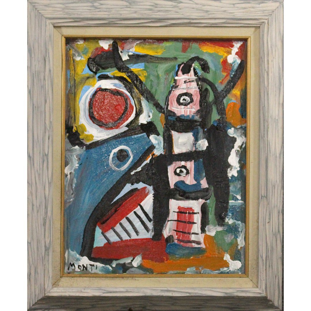 Monti, Mid-Century Modern Abstract Composition Oil/c