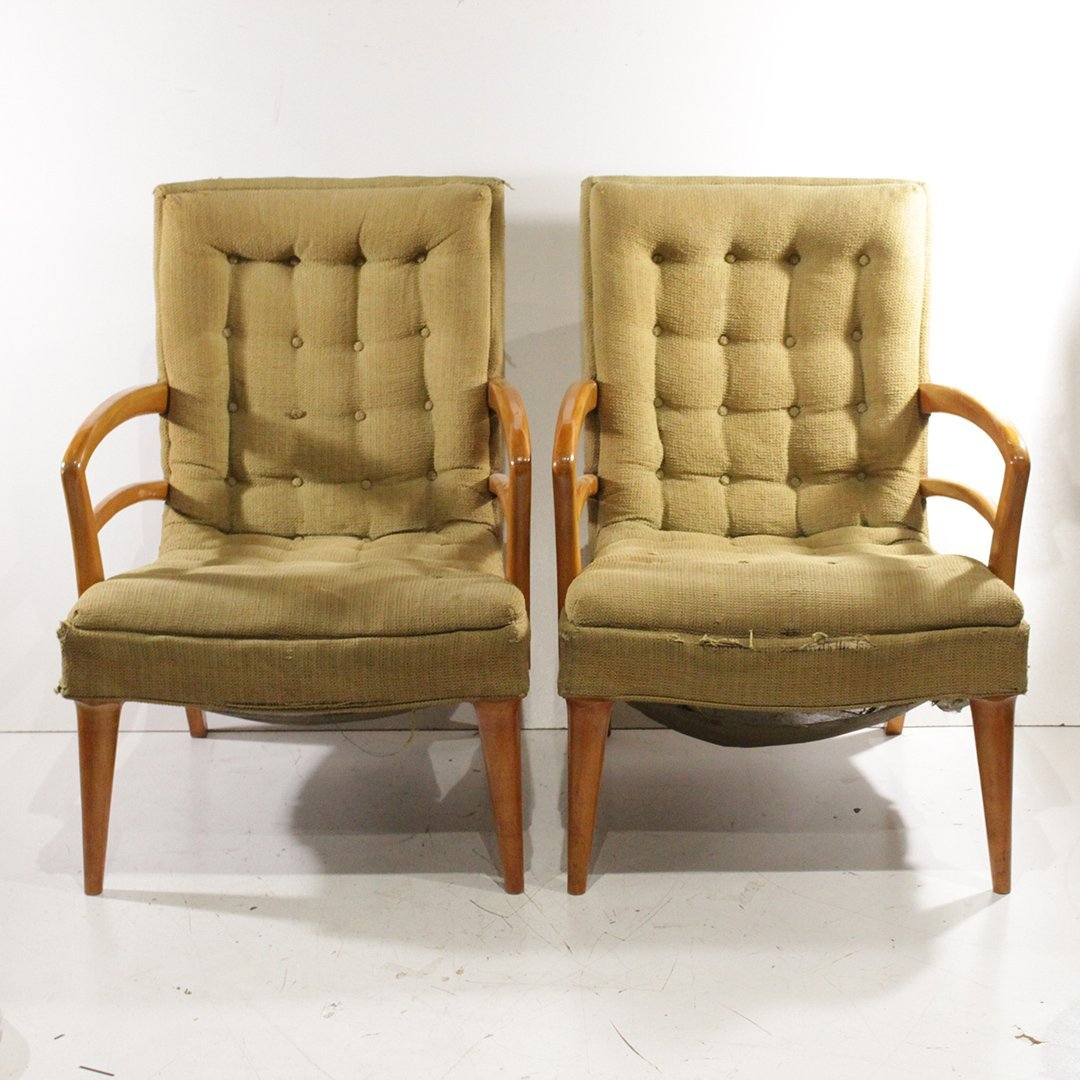 Pair Mid-century Modern Blond Stylish Lounge Chairs