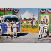 Queen and Her Court Negro League Litho Signed 8 Players