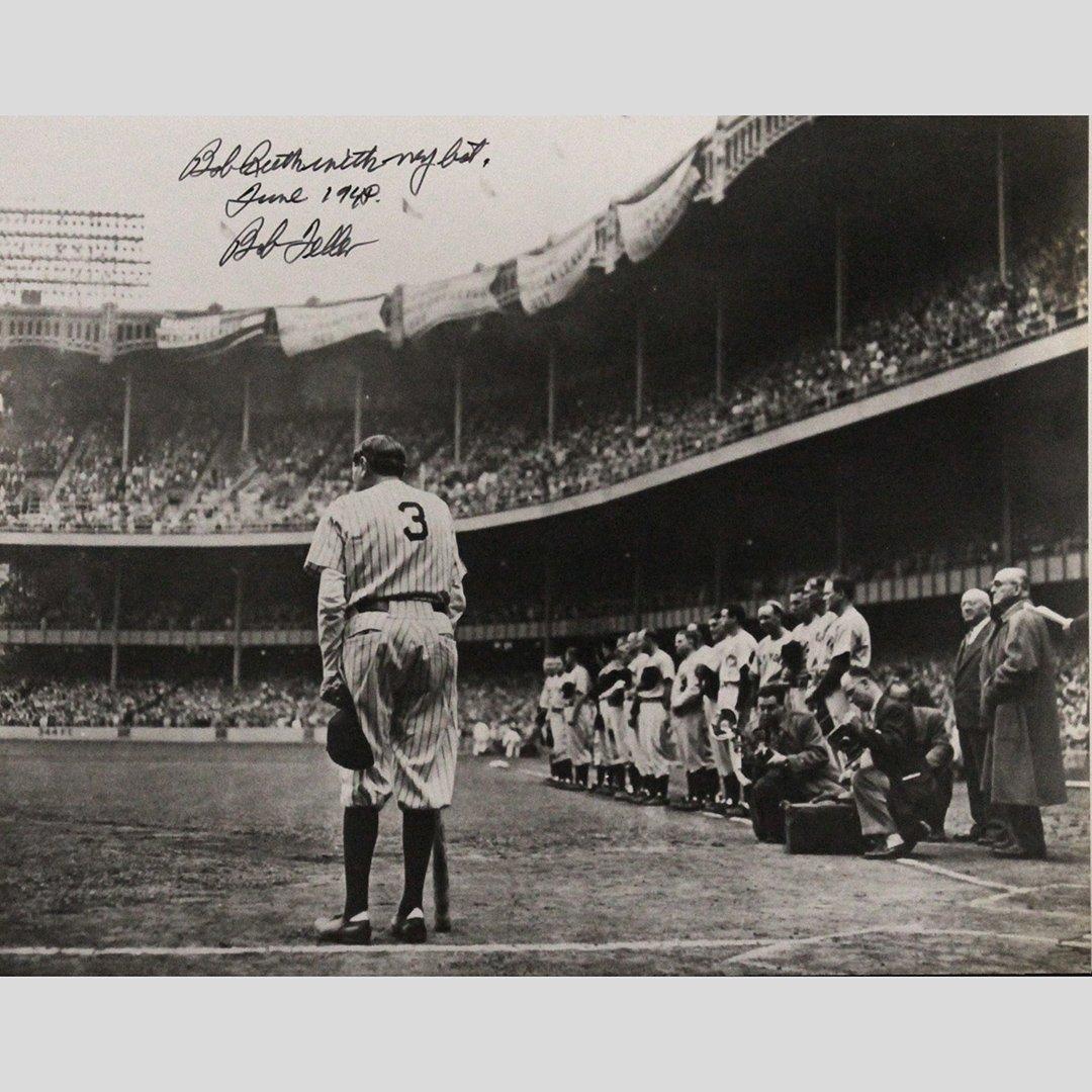 Photo Signed Babe Ruth with My Bat June 1948 Bob Feller