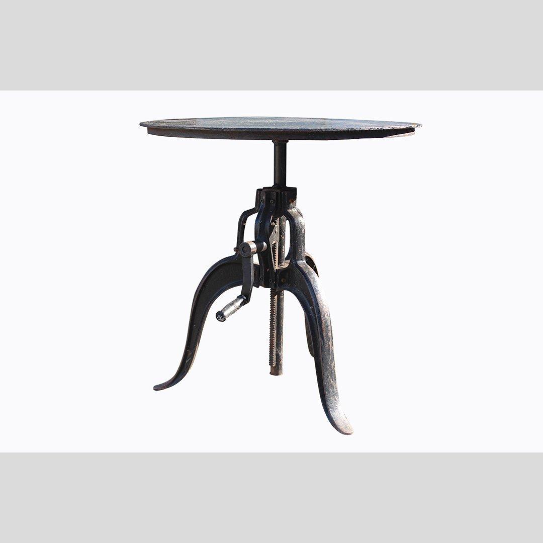 Industrial Era Iron Base Adjustable Stand, Round Top