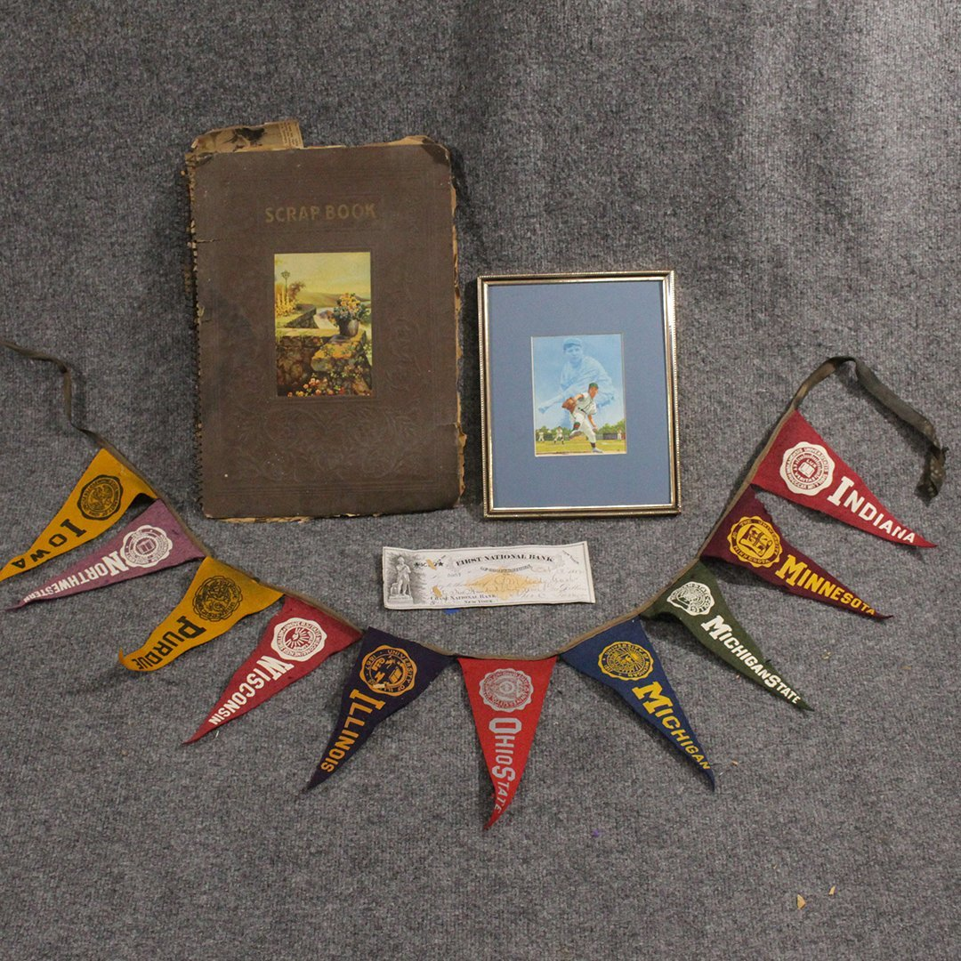 Vintage Sports Collector's Lot, Pennants, Scrap Book