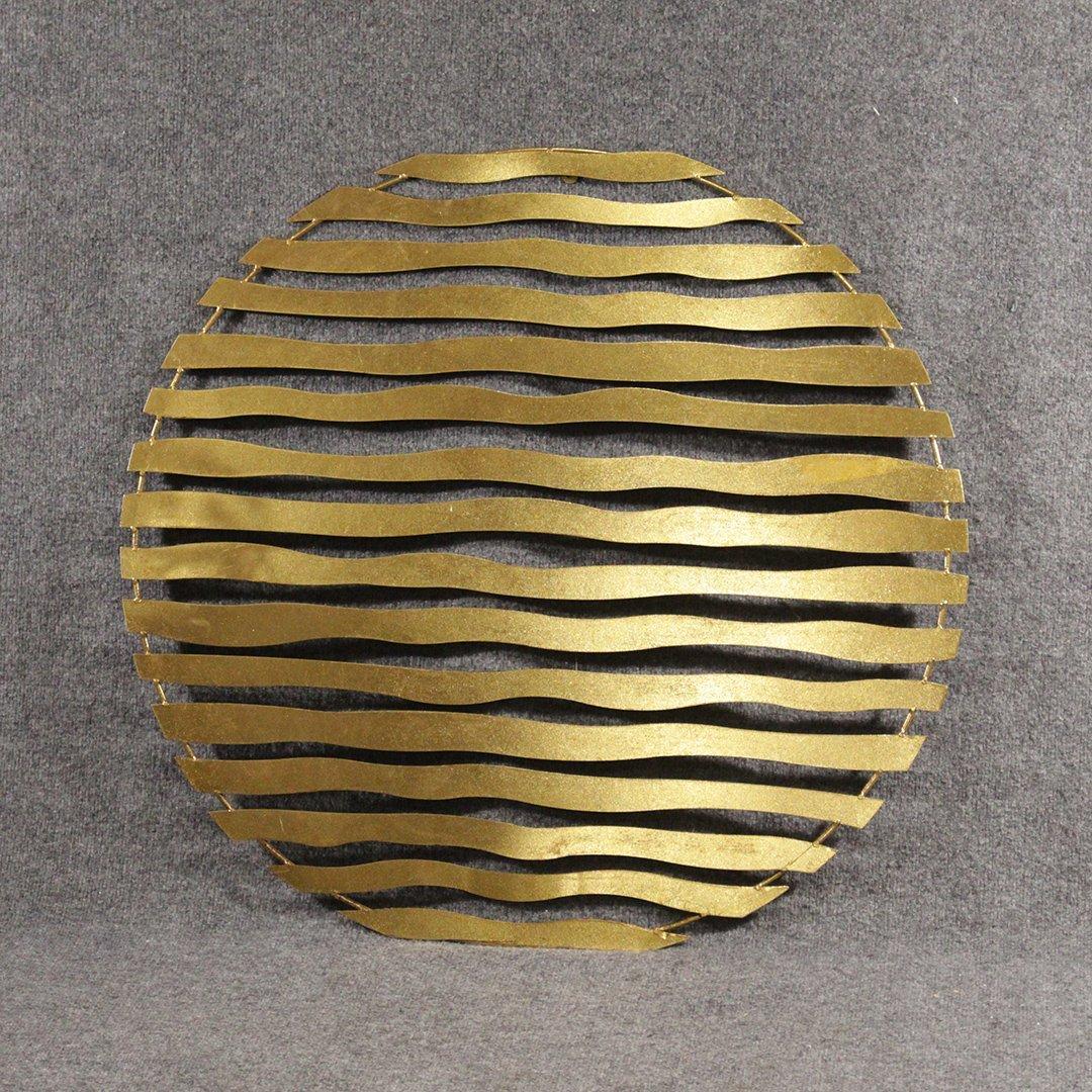 Mid-Century Design Round Metal Wall Sculpture