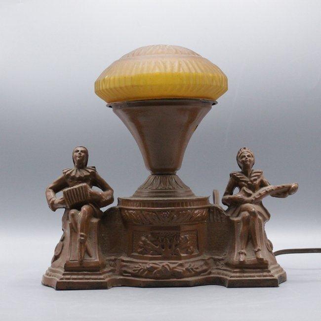 Art Deco Metal Desk Lamp Amber Mushroom Glass Shade