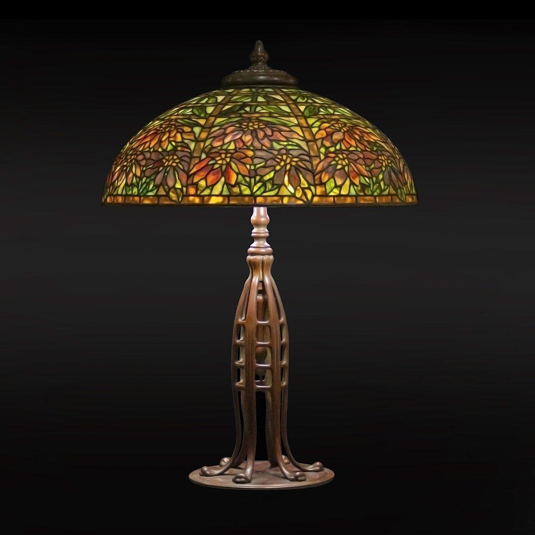 Tiffany Studios Poinsettia Lamp Signed Shade & Base