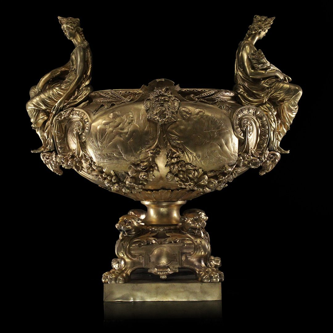 Large Dore Bronze Center Bowl With French Maiden Sides