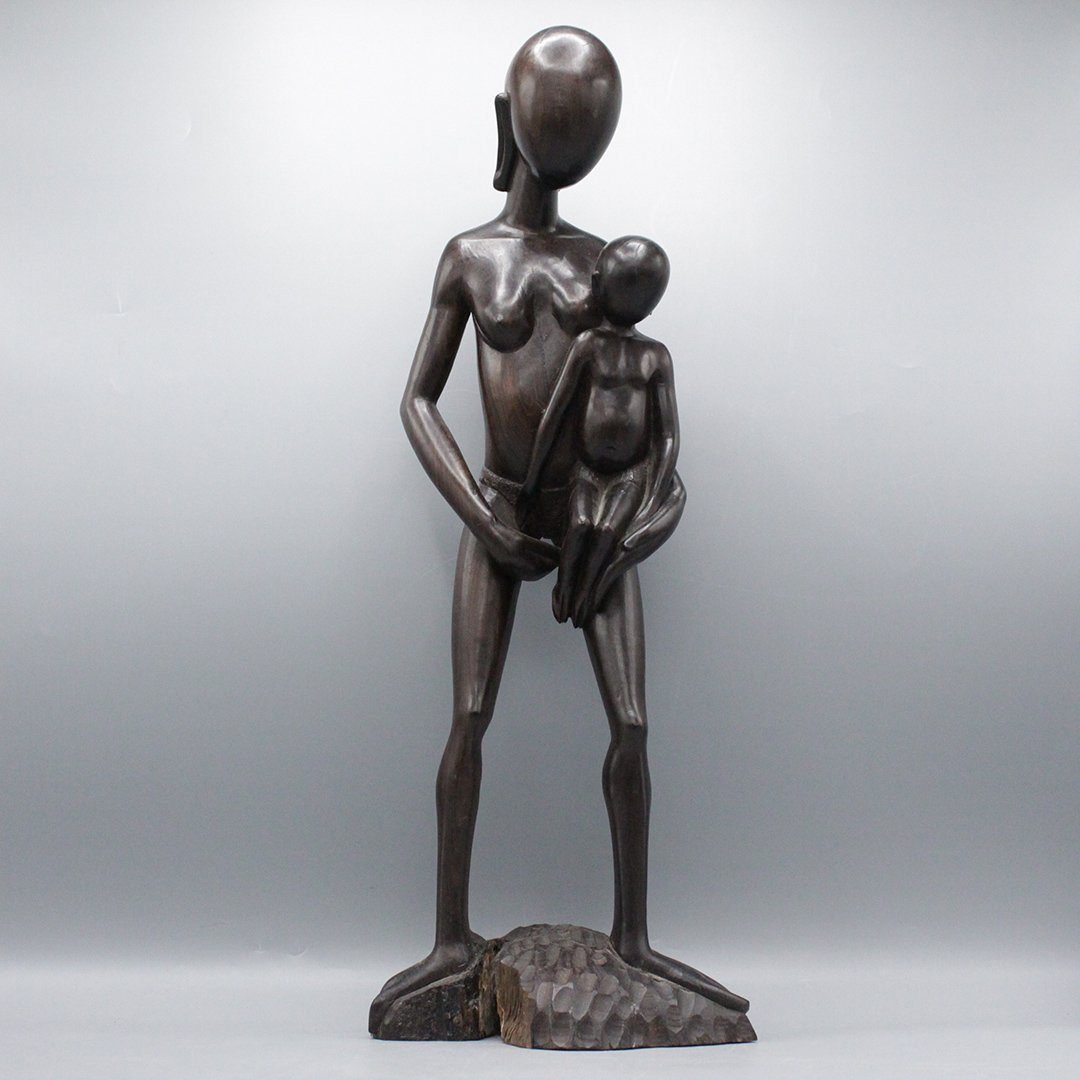 Carved and Polished Wood Mother & Child Sculpture
