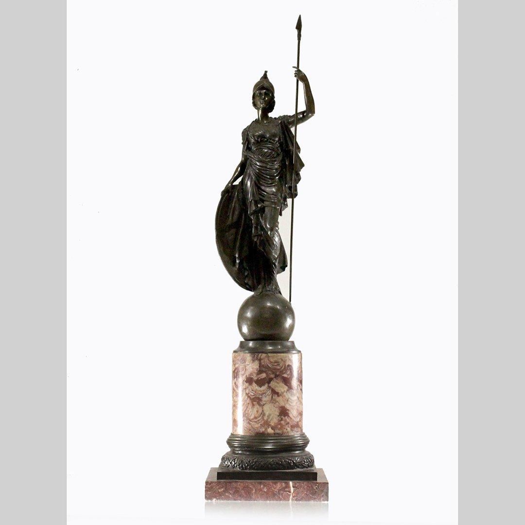19th C. Large Bronze Pallas Athena Mounted Rose Marble
