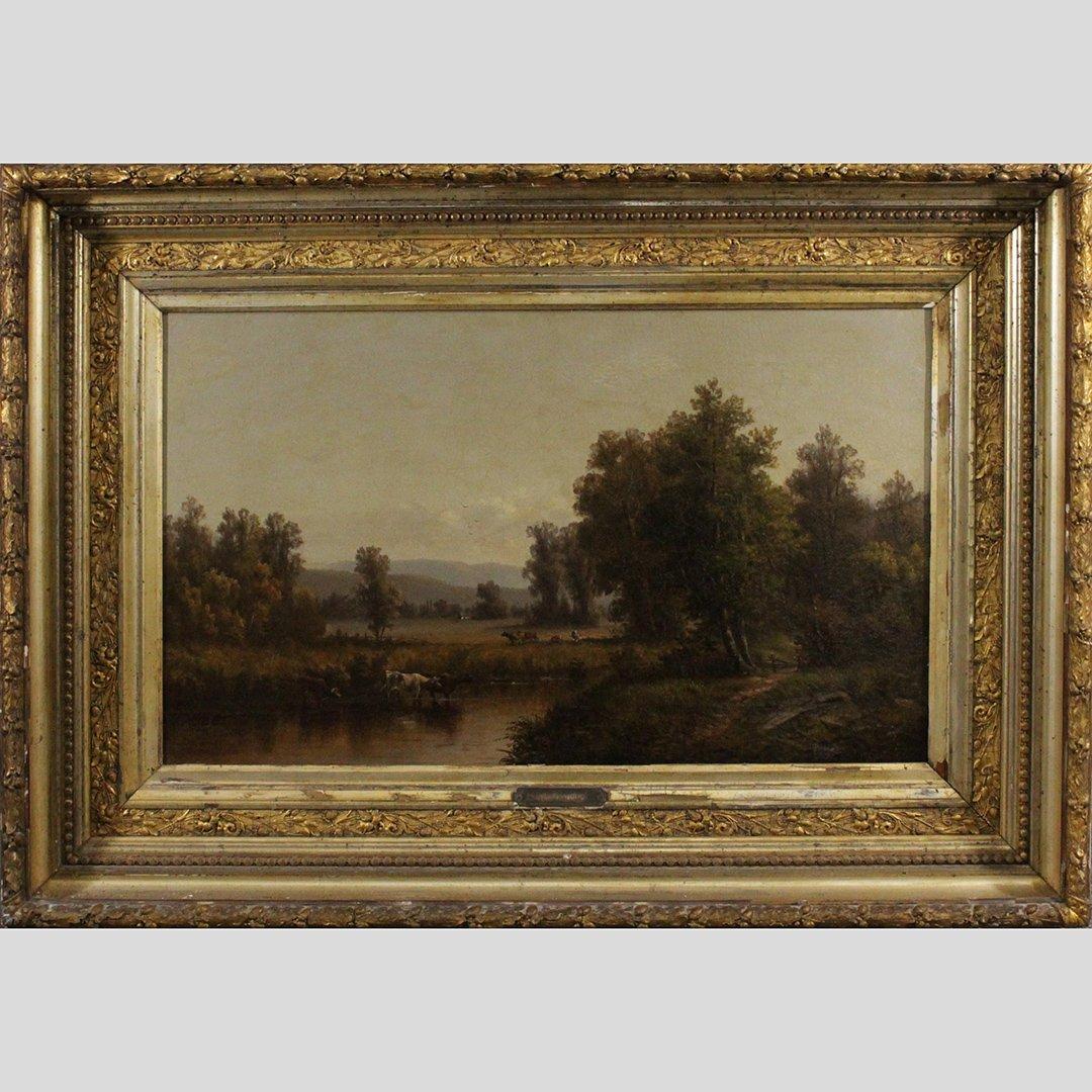 William M Hart, 19th C. Oil/c Hudson Valley Landscape