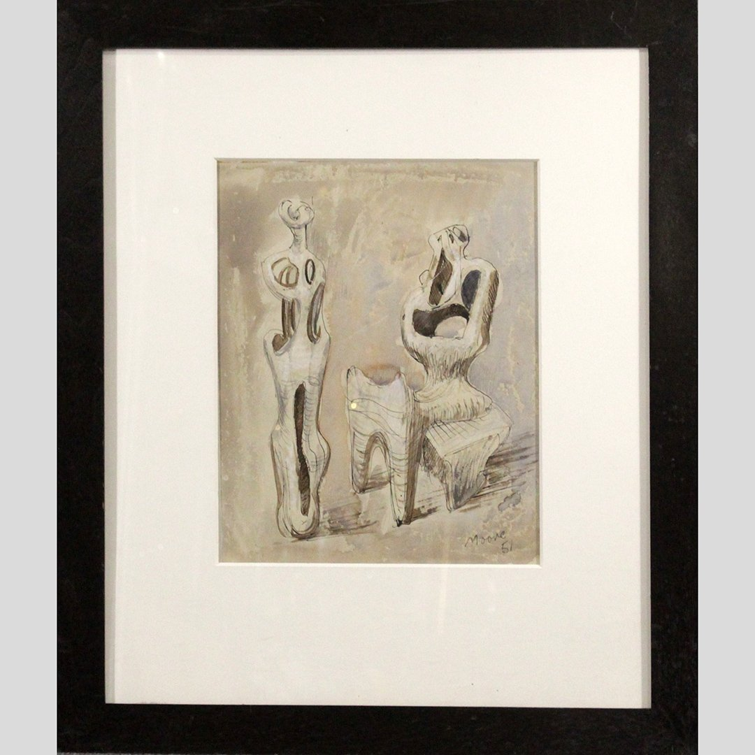 Henry Moore. Mixed Media on Paper, Abstract Figures