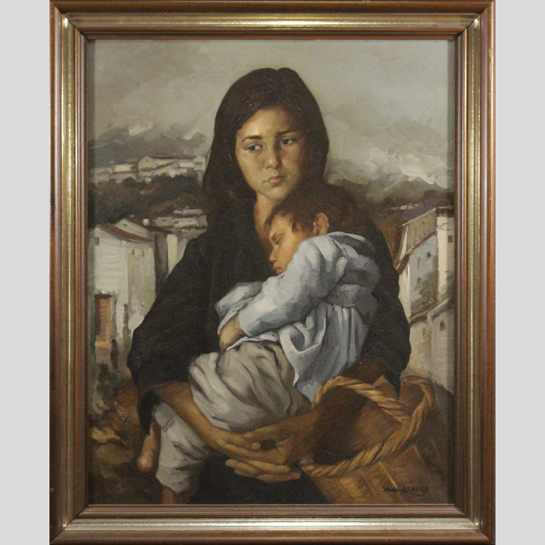 Juan Arroyo, Spanish Artist, Woman and Child Oil/c