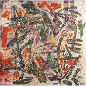 R. Monti, Mid-Century Abstract Drip Art Oil Painting