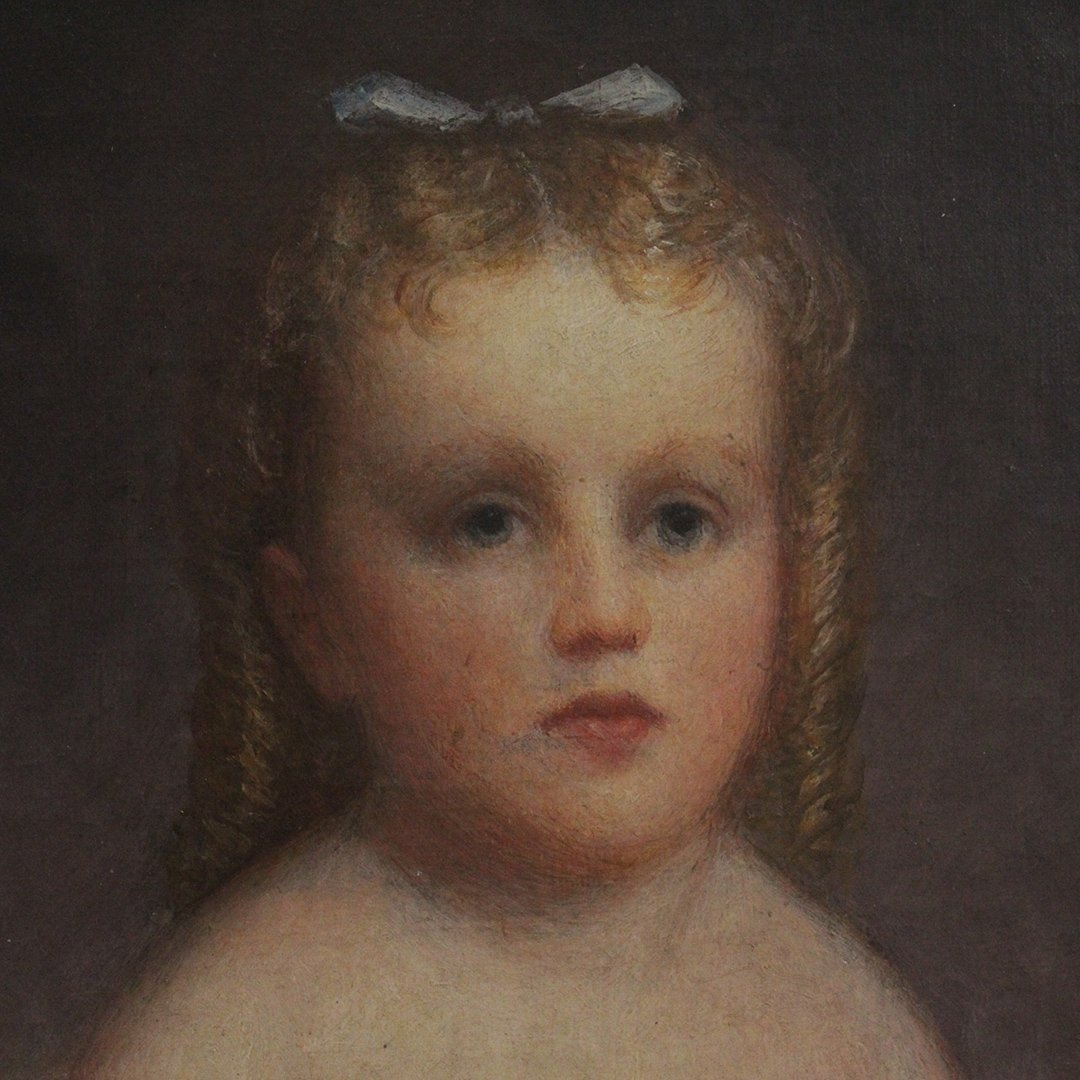 Fine 19th C American Oil Portrait of a Young Girl