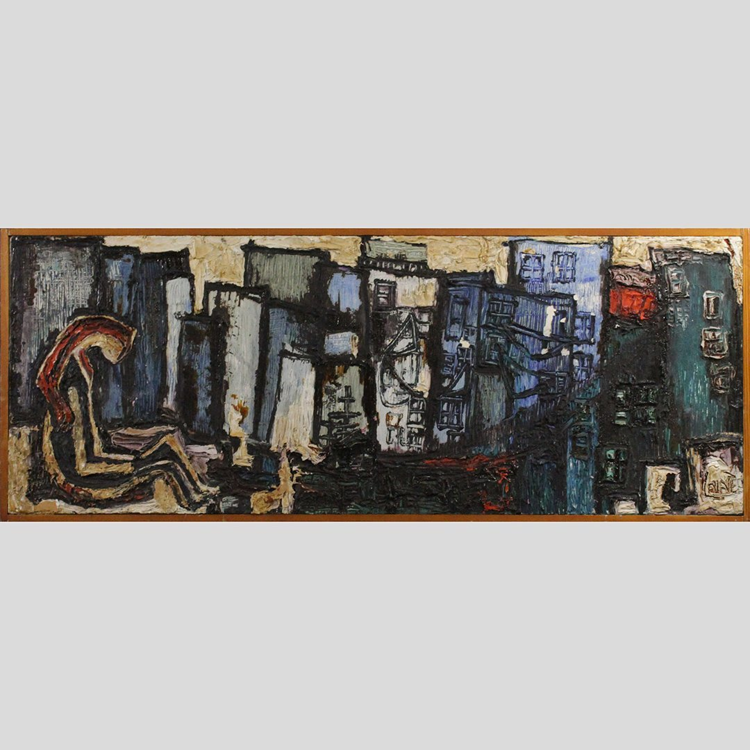 Lane, Mid-Century Modern Cityscape Thick Oil Painting