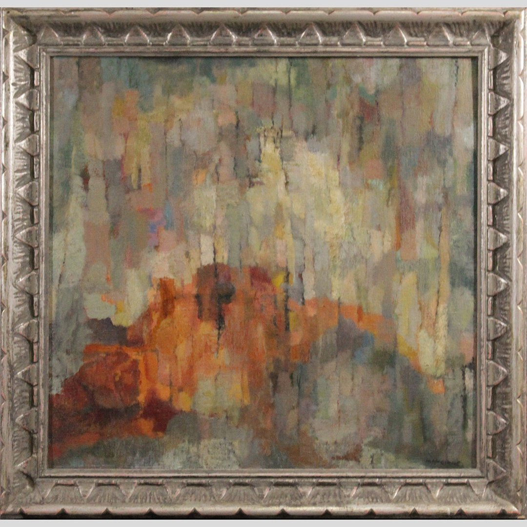 Patricia Mangione, American, Oil/c Mid-Century Abstract