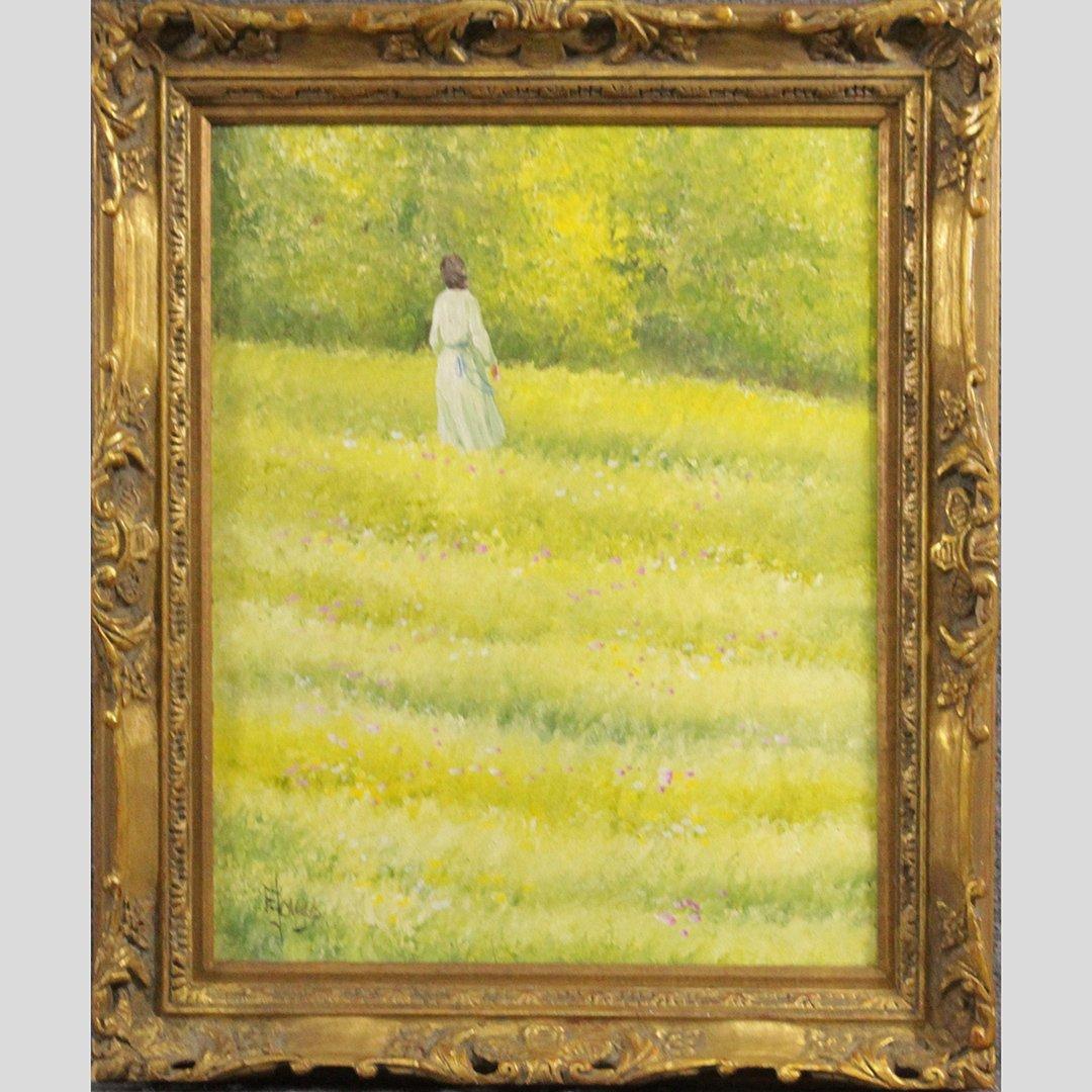 E Jonas, 20th C. Oil/c Lady in Field of Wild Flowers