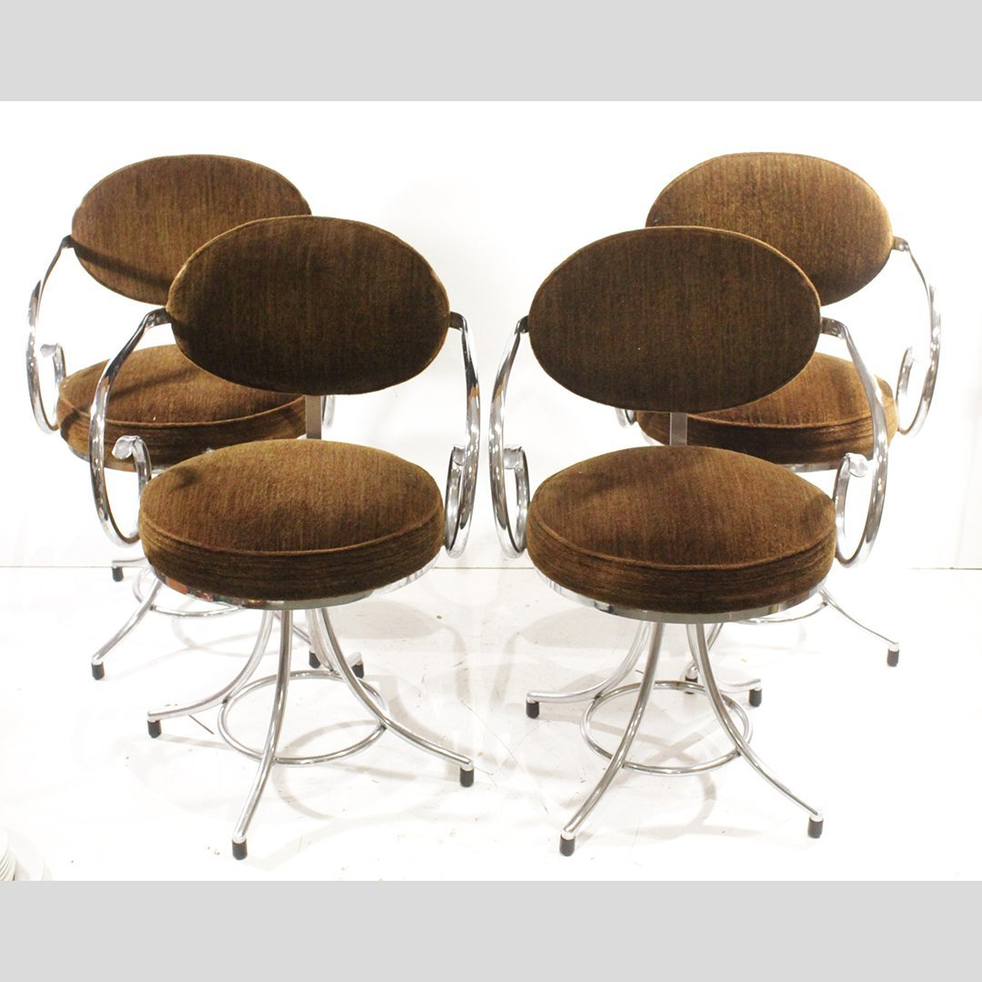 Four [4] Thonet Style Tubular Chrome Curly Sides Chairs