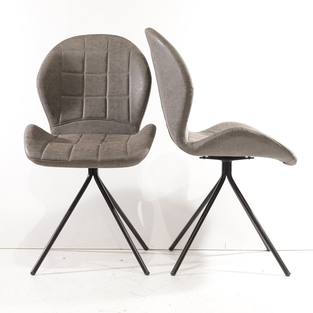 Two Mid-Century Modern Stylish Upholstered Side Chairs