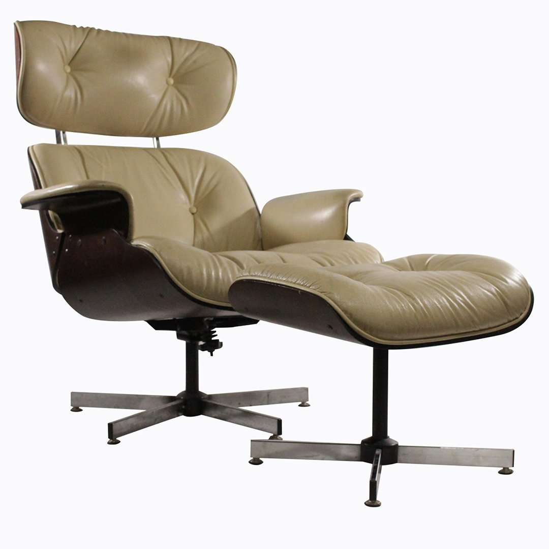 PLYCRAFT Eames Herman Miller Style Lounge Chair & Stool