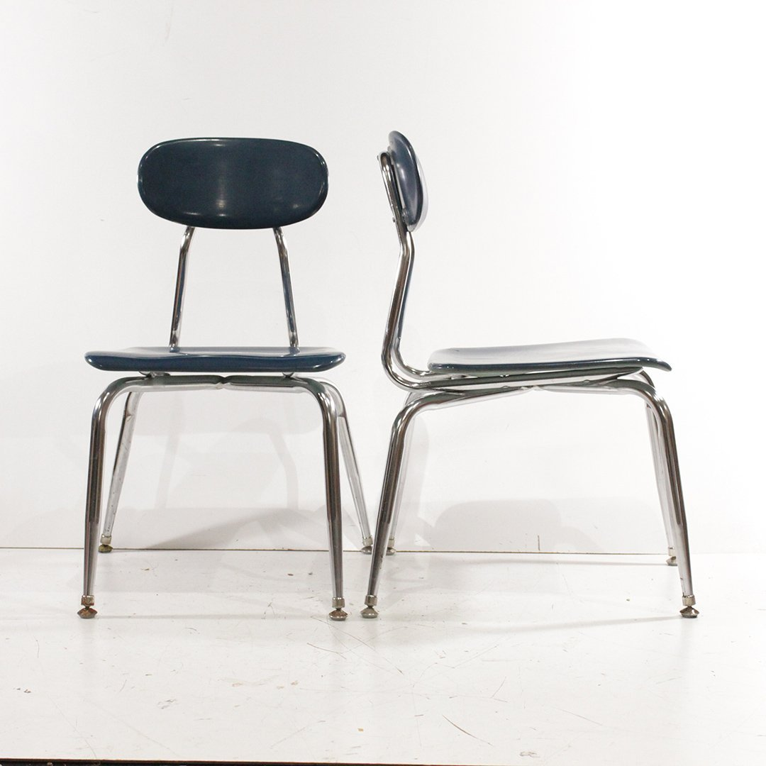 Six [6] Child's Mid-Century Modern Stackable Chairs