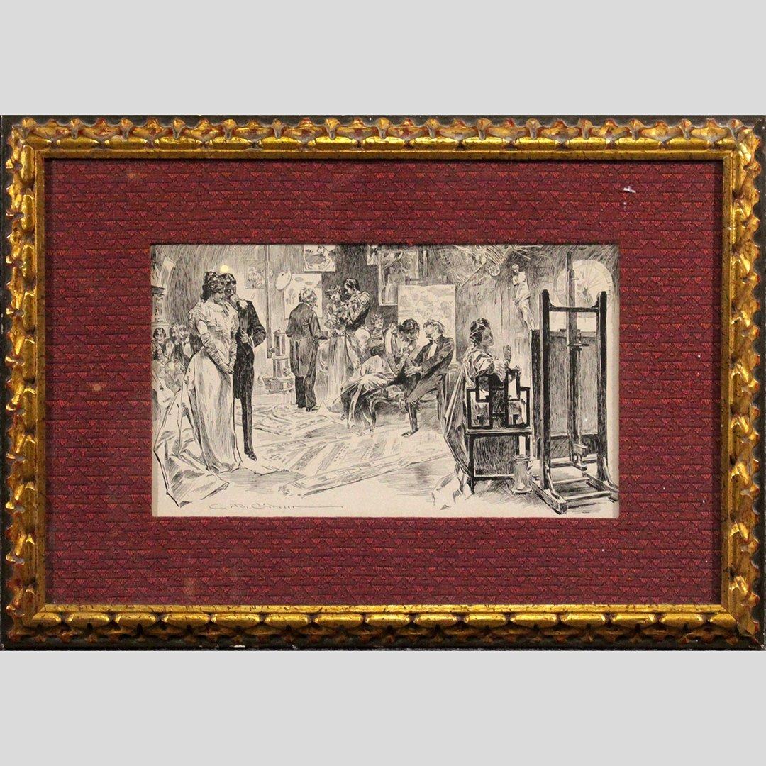 C D Gibson, Vintage Print Illustration Framed