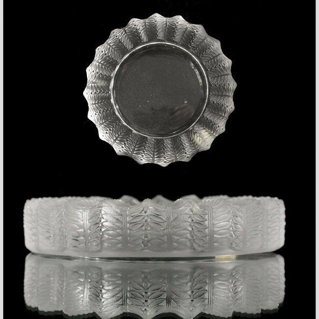 Lalique France Crystal Bowl Fern Edge Pattern - Signed.
