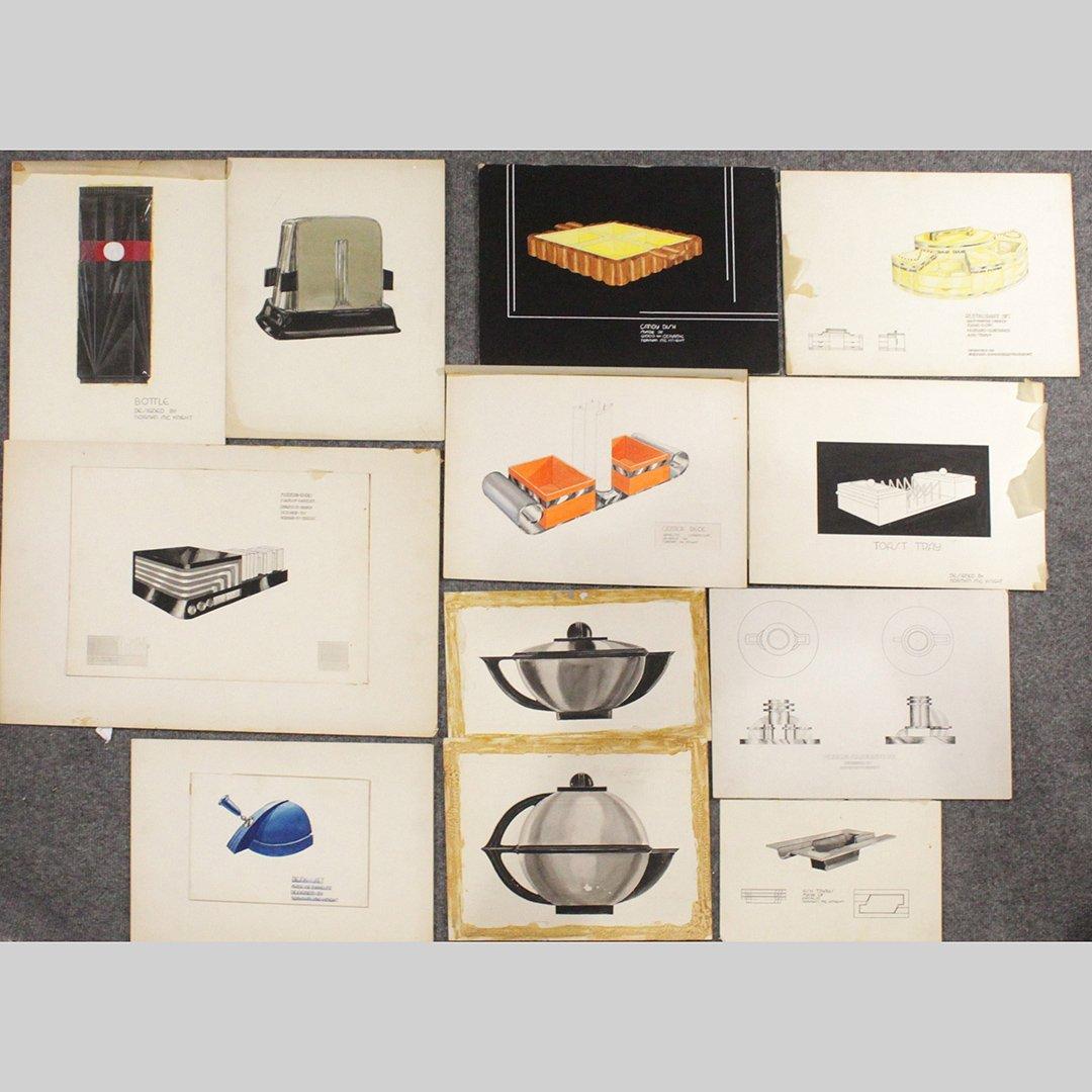 Twelve [12] Mid-Century Art Rendering Table Accessories