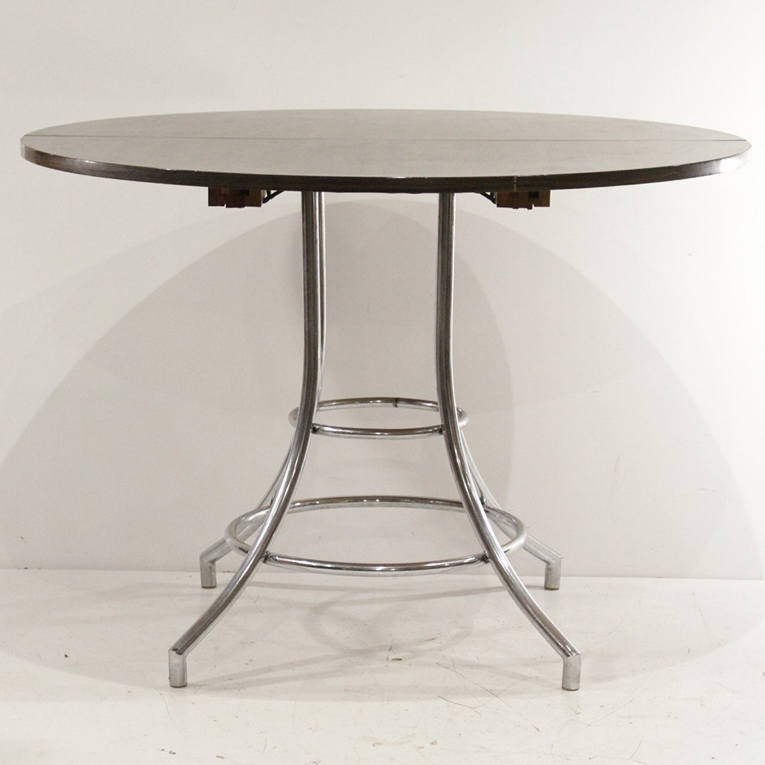 Mid-Century Modern Round Chrome Base Dinette Table