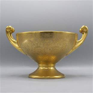 Hutschenreuther Gelb. LHS Bavaria Gold Handled Compote