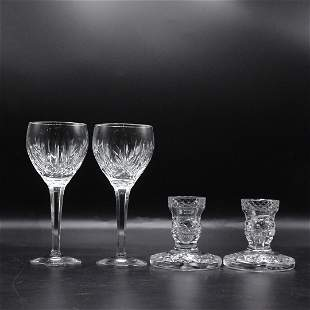 WATERFORD 2 Wine Glasses, 2 Candlesticks for Dinner