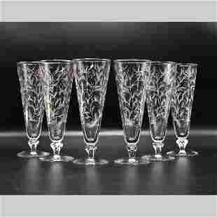 Six [6] Mid-Century Modern PILSNER GLASSES with Pattern