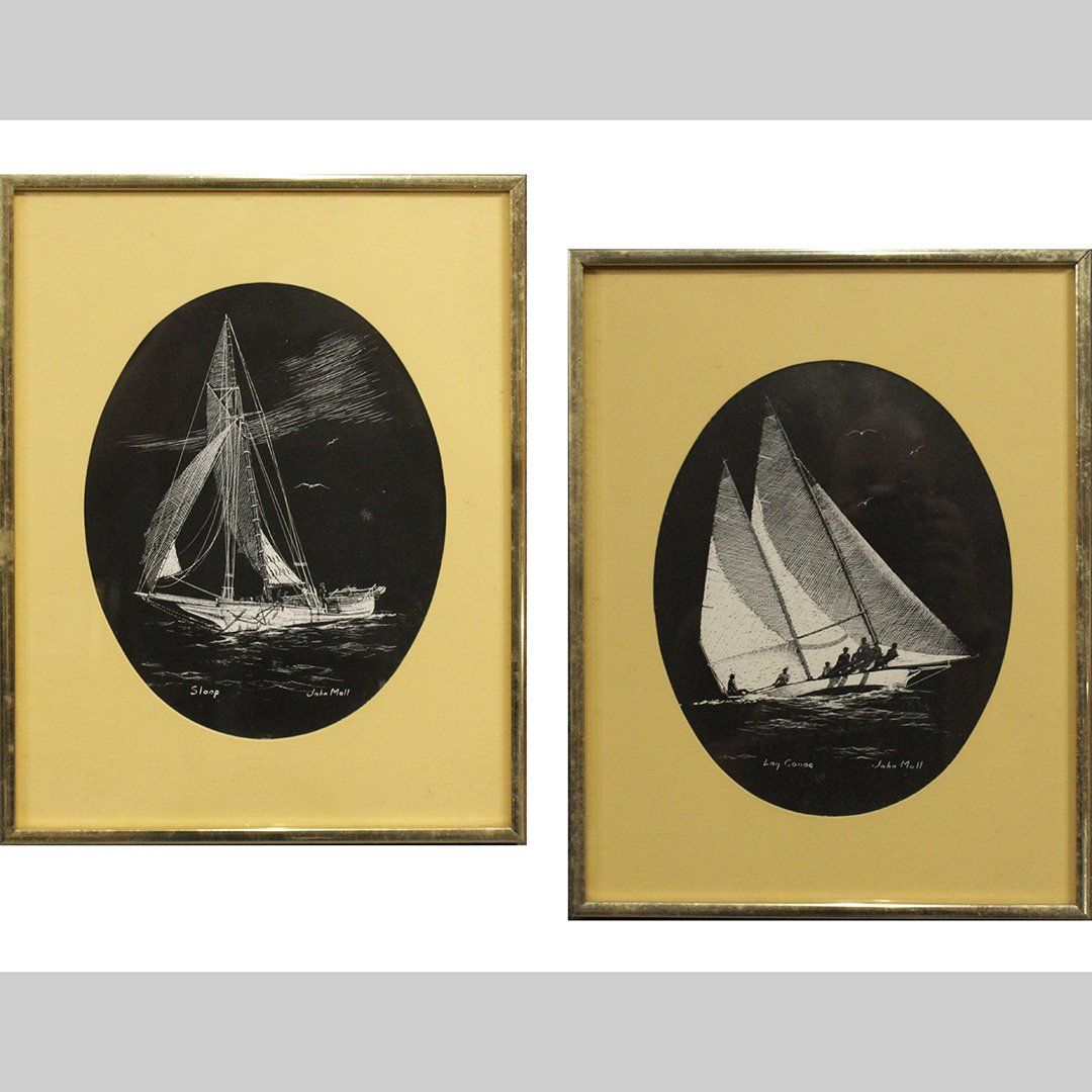 Two [2] John Moll 1910-1991 Oval Ship Paintings Signed