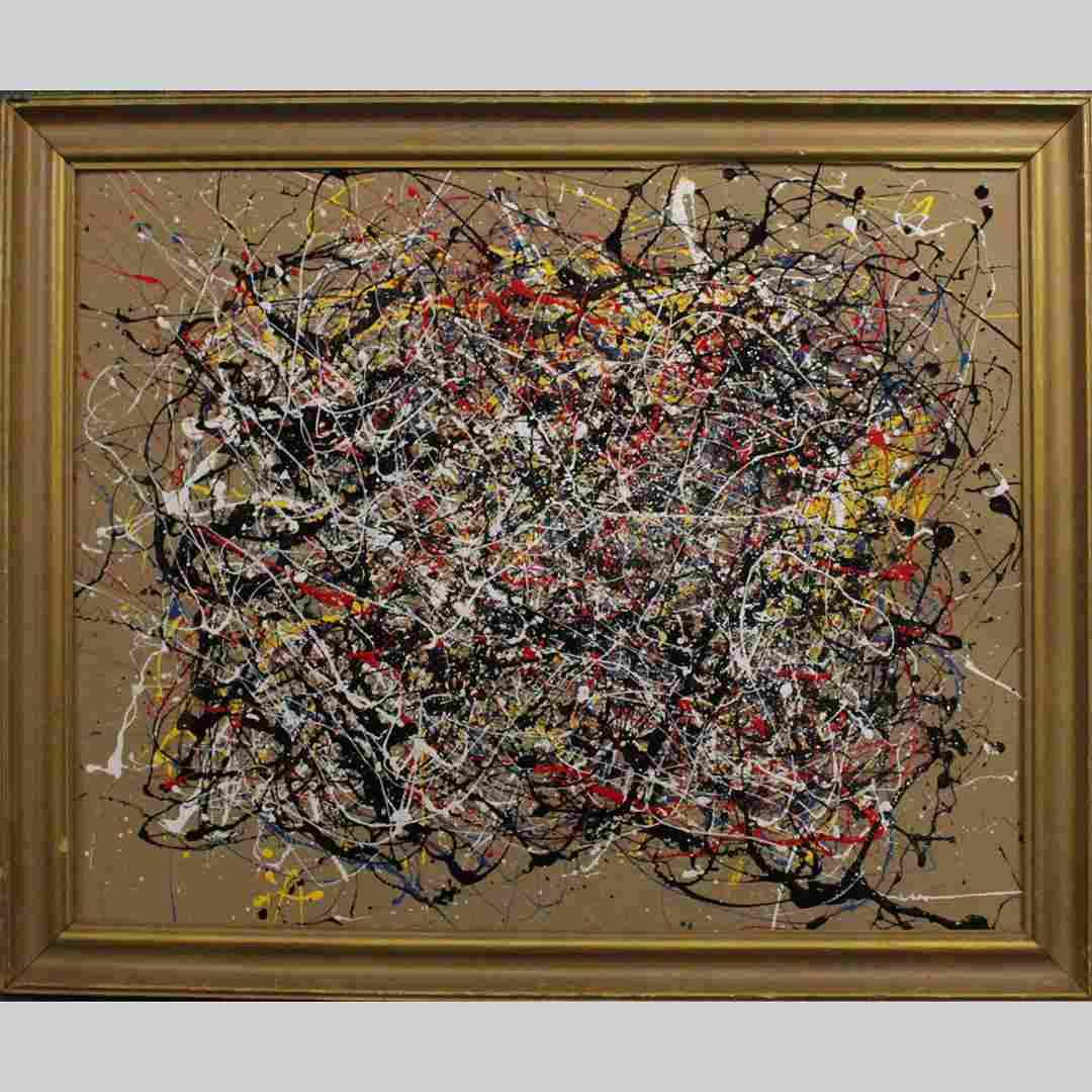 Jackson Pollock Style Mid-Century Drip Art Oil Painting