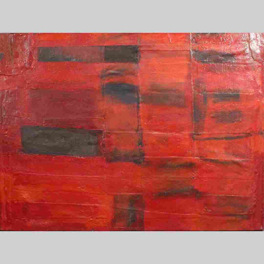 Mid-Century Modern Red Squares Abstract Oil Painting
