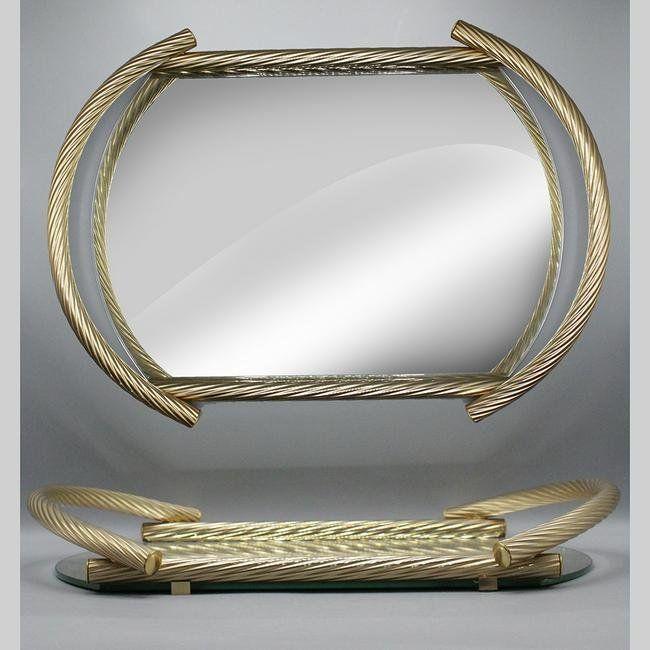 Quality Mid-Century Modern Mirror Dresser Tray