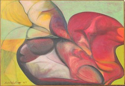 Nicholas Luttinger, Large Erotic Abstract Oil Painting