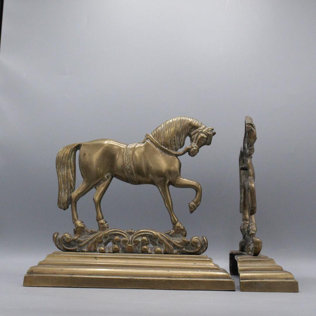 Pair Solid Brass Classical Trotting Horse Bookends