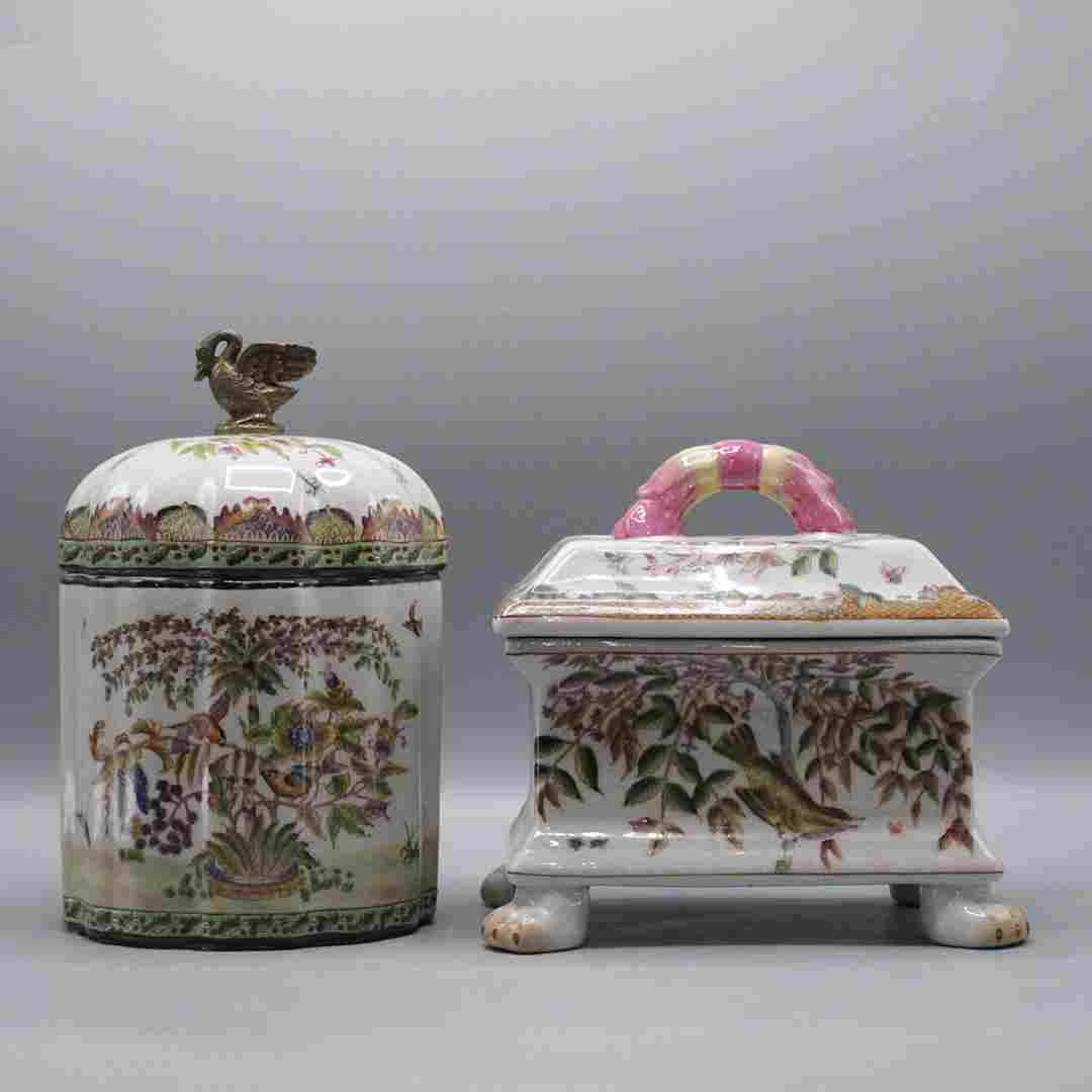 Two [2] Fine Porcelain Oriental Cracker Jars with Cover