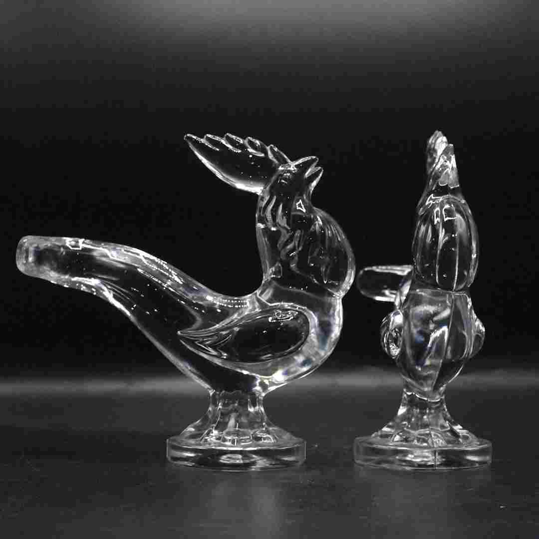 Two [2] Crystal Glass Roosters Figures
