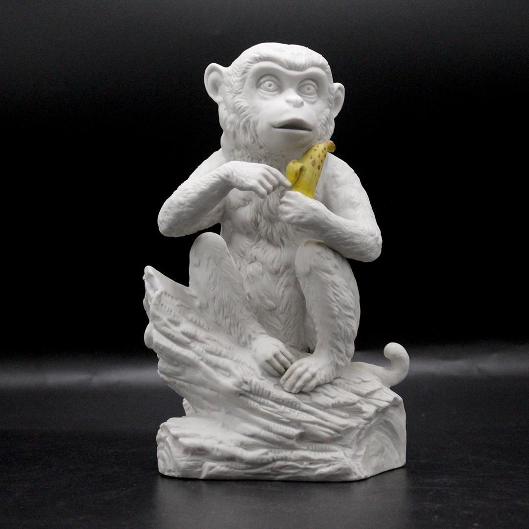 ALDON 1974 White Porcelain Monkey Holding Banana