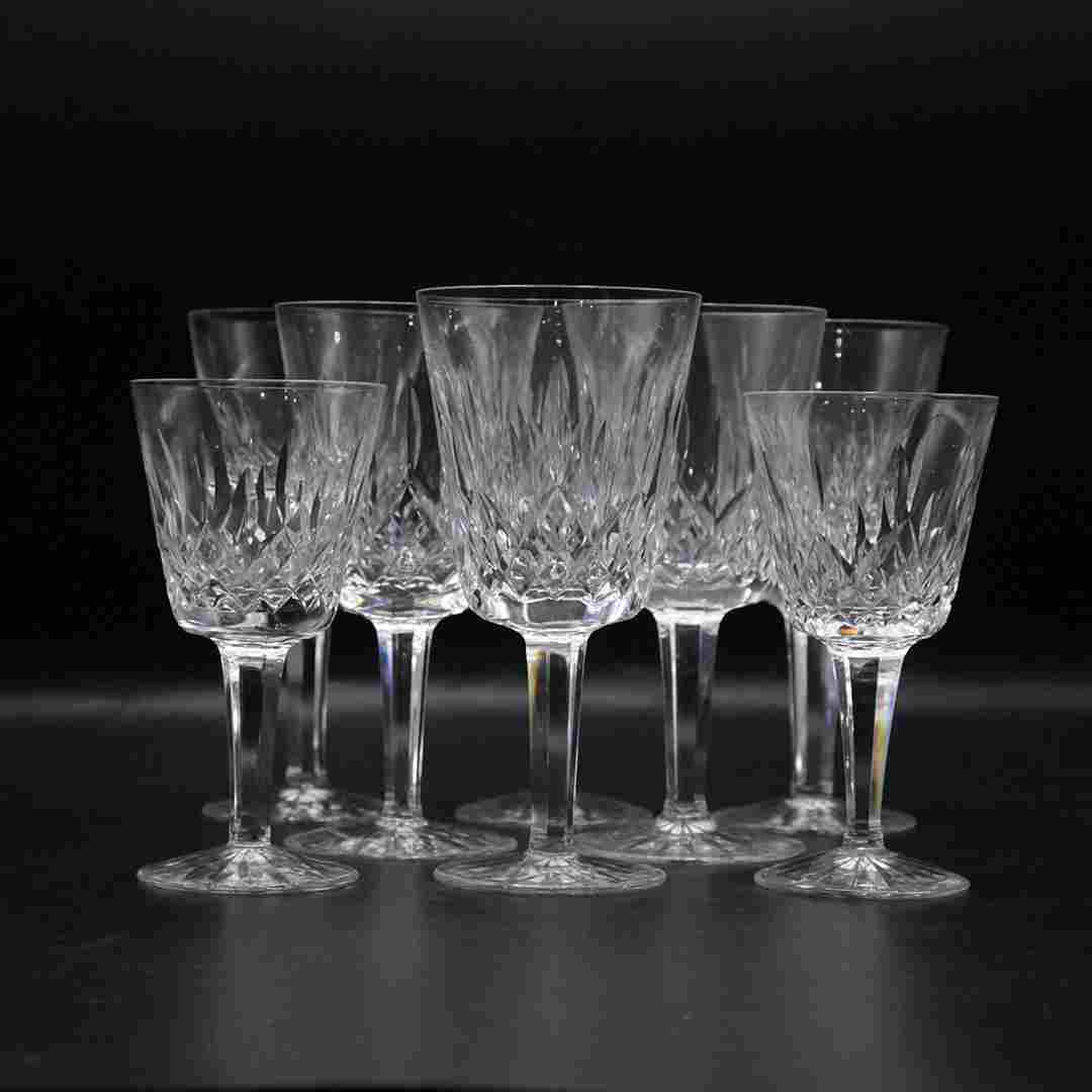 Eight [8] WATERFORD Crystal Glass Stemware Signed