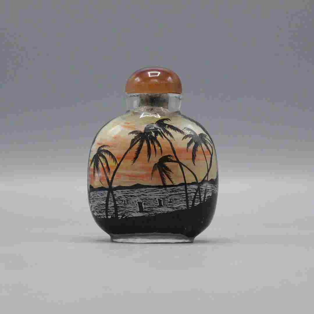 Glass Snuff Bottle Hand Painted Palm Trees, Boat on Sea